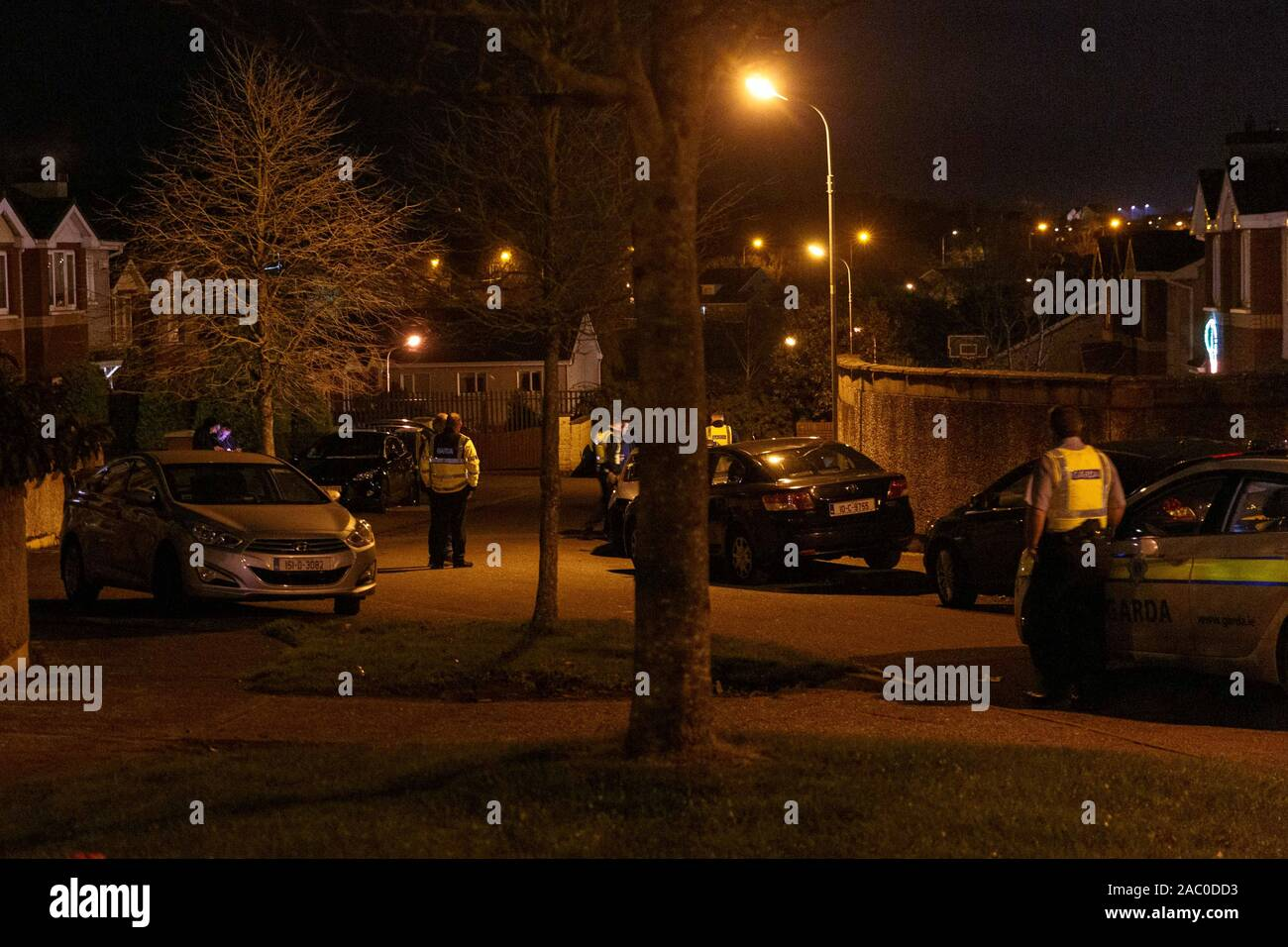 Cork, Ireland. 29th Nov 2019. Shooting in Chapelgate, Ballyvolane, Cork City. At around 7:45 today multiple units of An Gardai Siochana including unmarked garda cars, armed response, and marked cars attended a shooting in Chapelgate Ballyvolane, Witnesses said there was up to 6 shots fired in the estate just before the gardai rushed to the scene. Credit: Damian Coleman/Alamy Live News Stock Photo