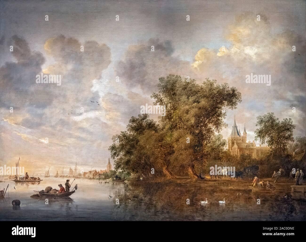 River Landscape by Salomon Jacobsz van Ruysdael (c.1602-1670), oil on canvas, 1643 Stock Photo