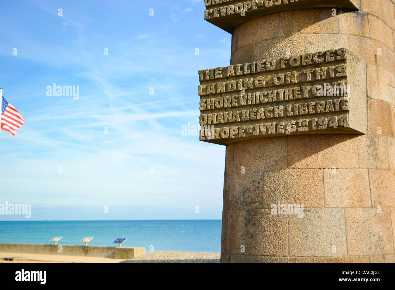 The Omaha Beach memorial to the fallen American Troops who died during the D Day invasion of World War 2 in Normandy France. Stock Photo