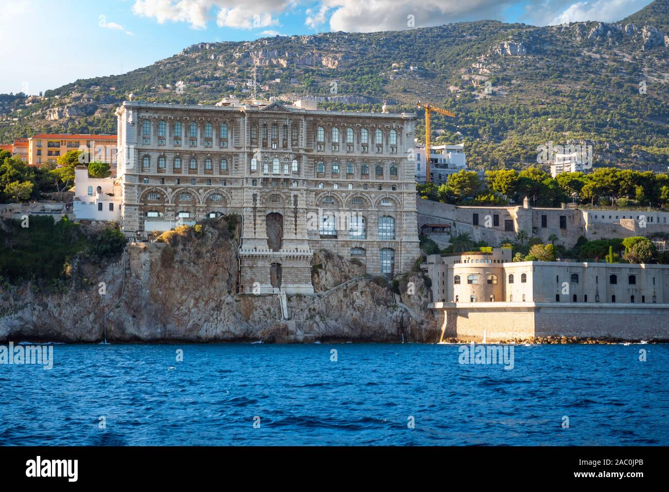 View from the sea of the Oceanographic Museum Aquarium on the coast of Monte Carlo, Monaco, on the French Riviera. Stock Photo