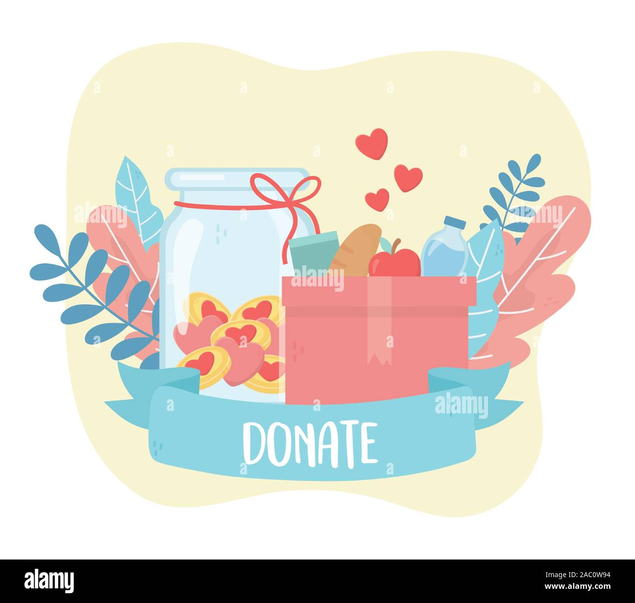 Volunteering Help Charity Donate Box With Food And Money Love Vector Illustration Stock Vector Image Art Alamy