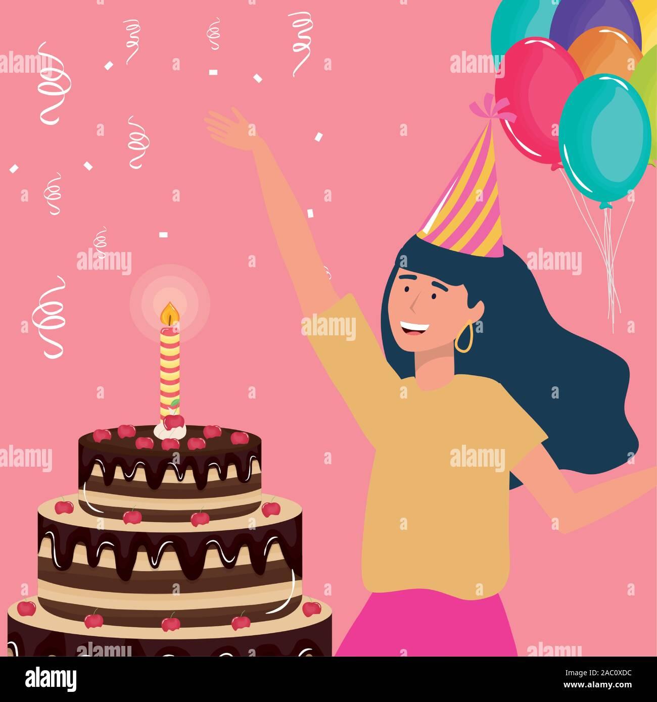 Astounding Happy Birthday Woman With Chocolate Cake And Balloons Celebration Personalised Birthday Cards Arneslily Jamesorg