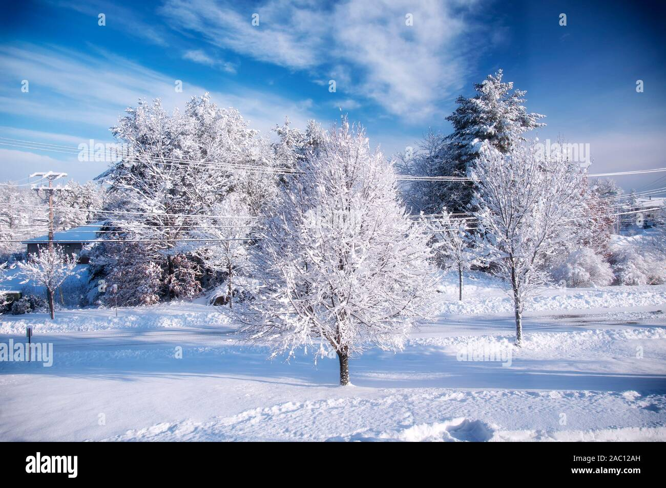 A Wintery Snow Blue Sky Day After A Winter Storm In Biddeford Maine Stock Photo Alamy