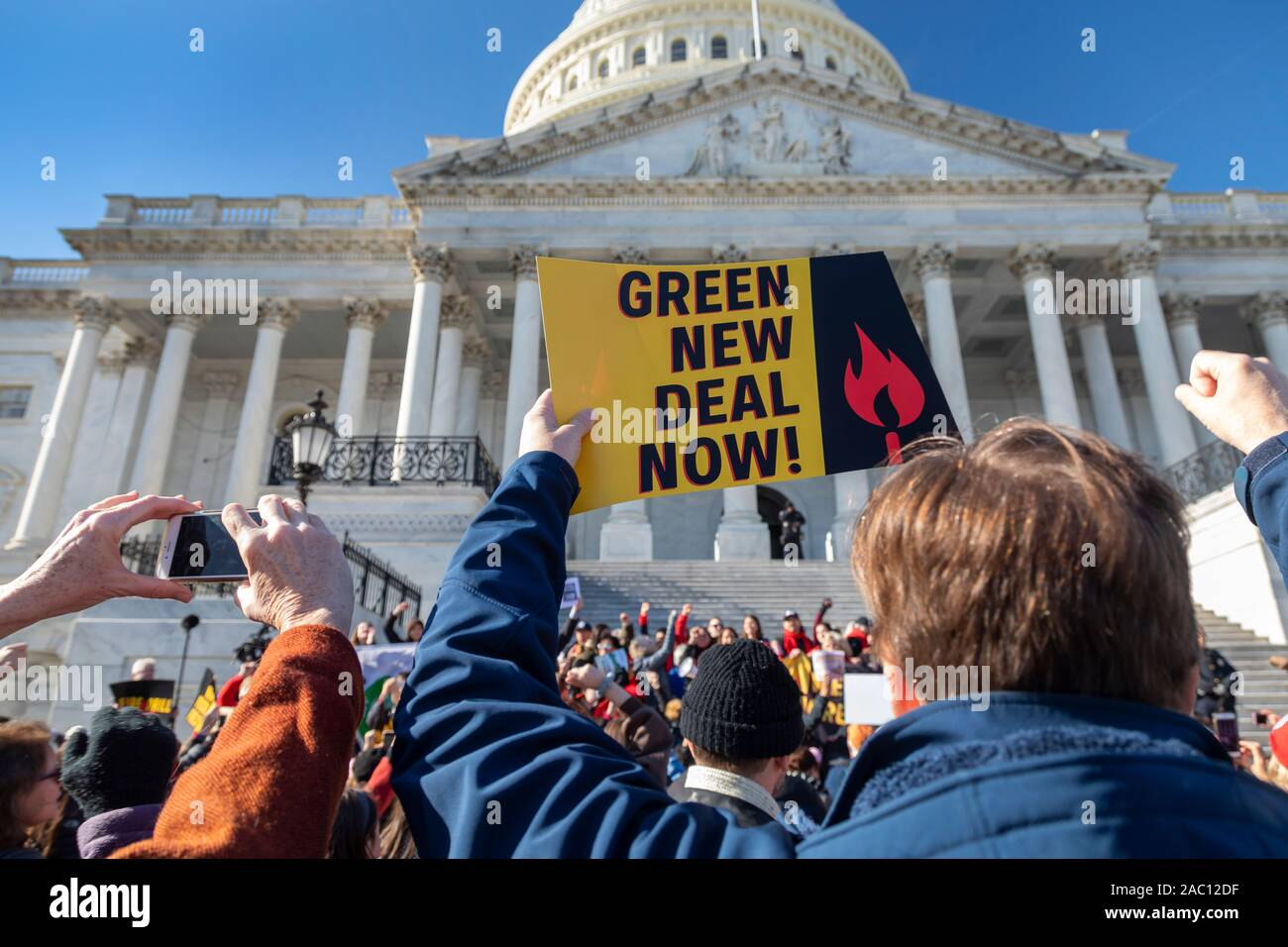 """Washington, DC - 29 November 2019 - A rally at the U.S. Capitol, one of a series of weekly """"Fire Drill Fridays"""" led by Jane Fonda, demanding that political leaders take action on the climate change crisis. Thirty-eight people were arrested when they refused to leave the Capitol steps. Credit: Jim West/Alamy Live News Stock Photo"""