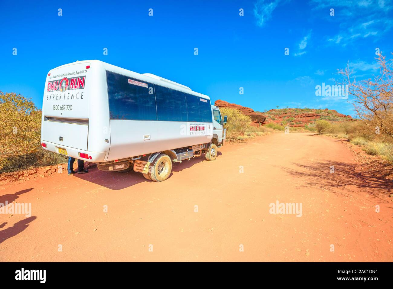 Finke Gorge National Park, Northern Territory, Australia - Aug 19, 2019: Day Palm Valley 4WD Tour with Emu Run Experience 4WD drive through Finke Stock Photo