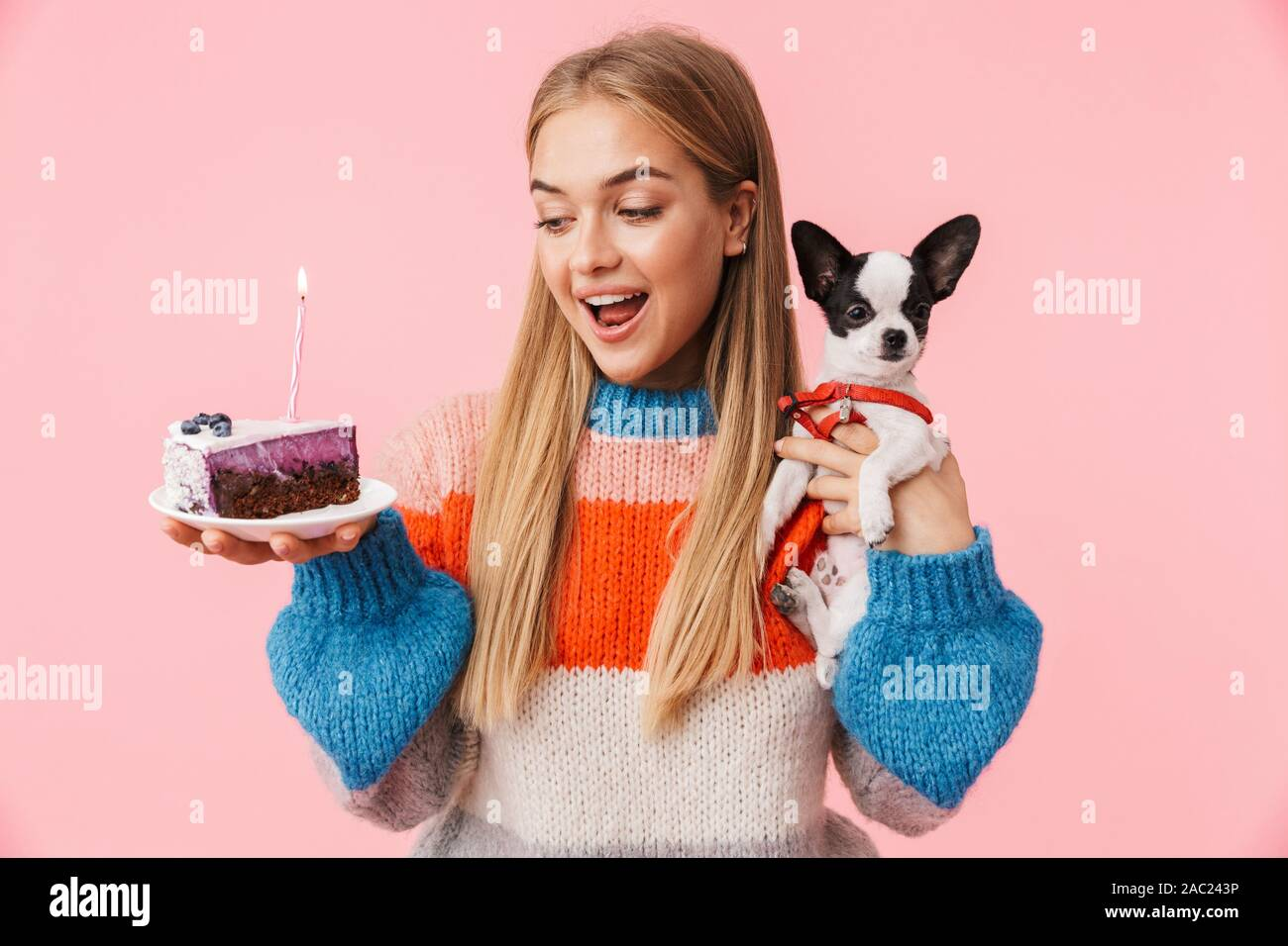 Swell Lovely Happy Young Girl Showing Piece Of Birthday Cake While Funny Birthday Cards Online Unhofree Goldxyz