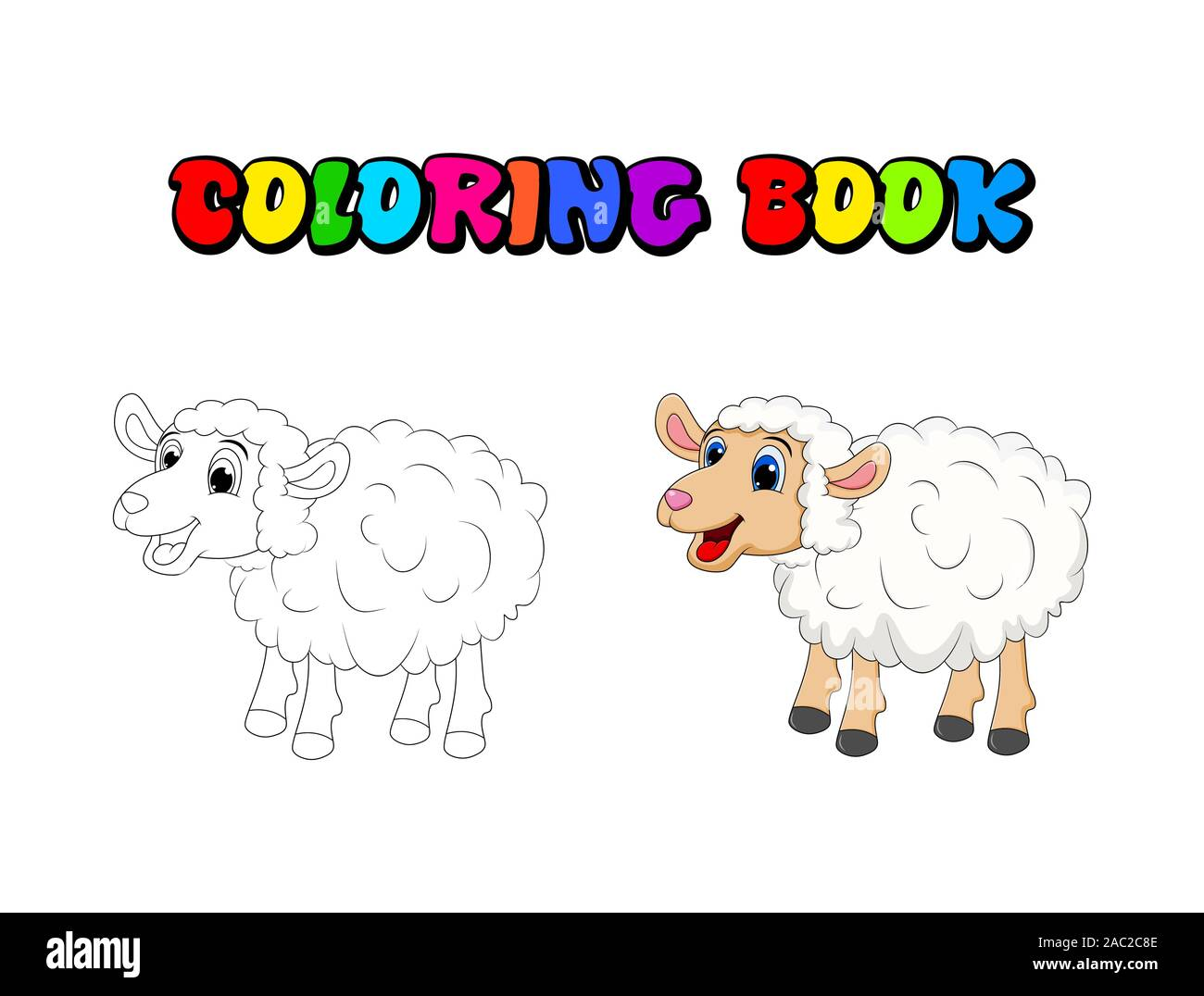 Cartoon Cute White Sheep coloring book , pages .Sheep standing for farm concept. Vector illustration isolated on white background Stock Vector