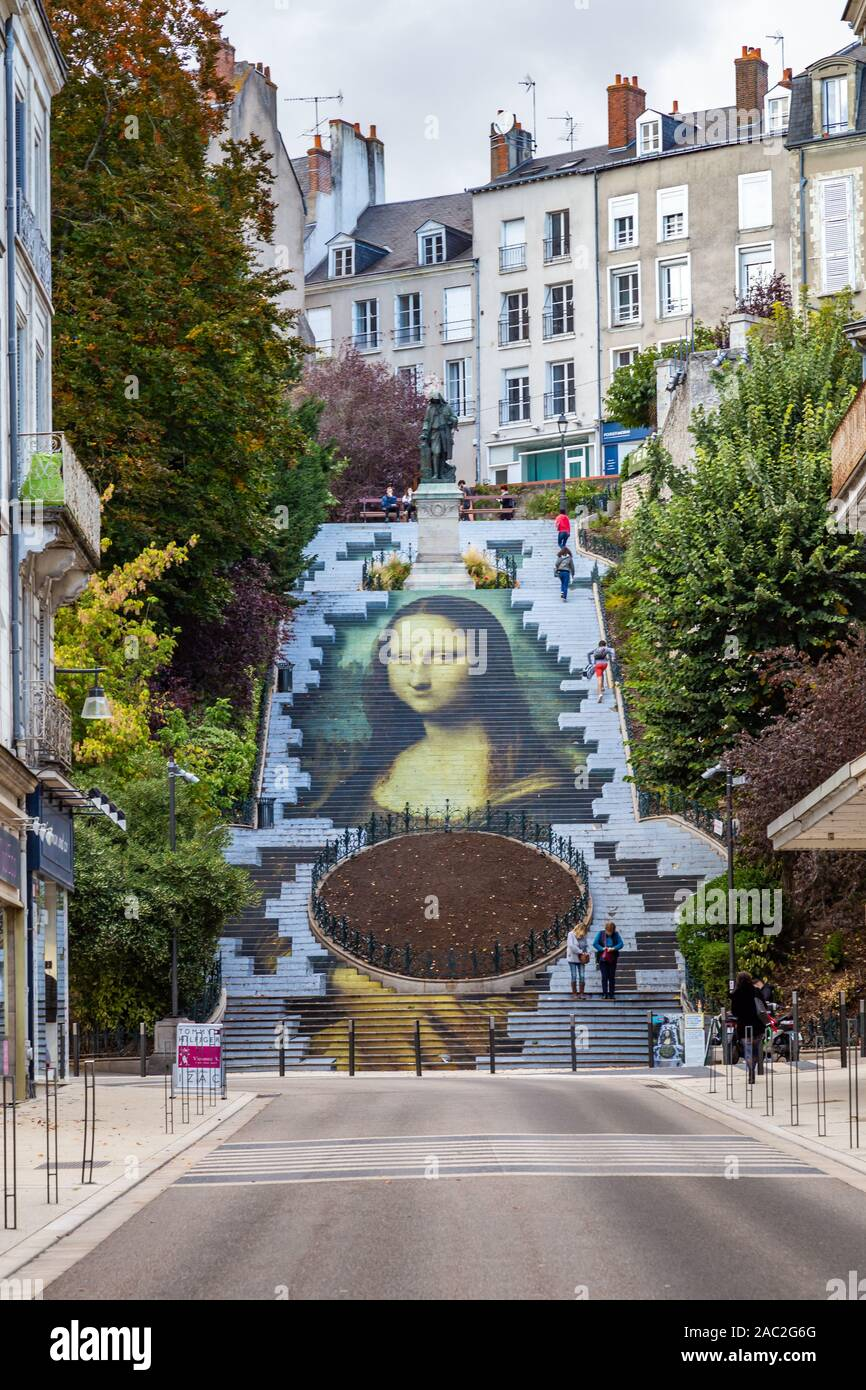 Blois, France - October 10, 2019: Mona Lisa Stairway at escalier Denis Papin to celebrate 500th anniversary of the Renaissance Stock Photo