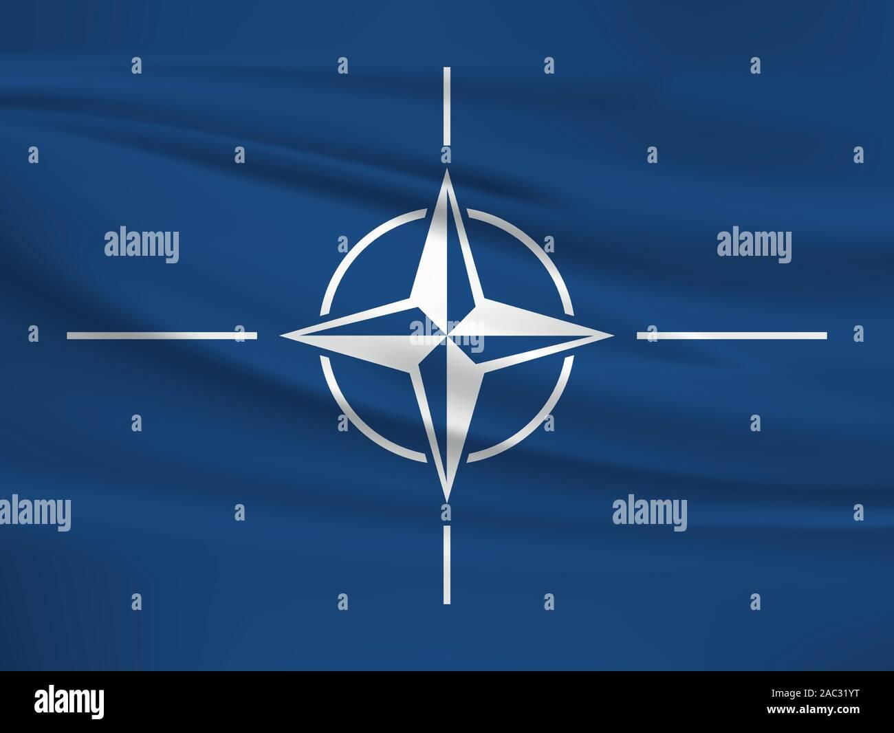 Waving North Atlantic Treaty Organization flag, official colors and ratio correct. North Atlantic Treaty Organization national flag. Vector illustrati Stock Vector