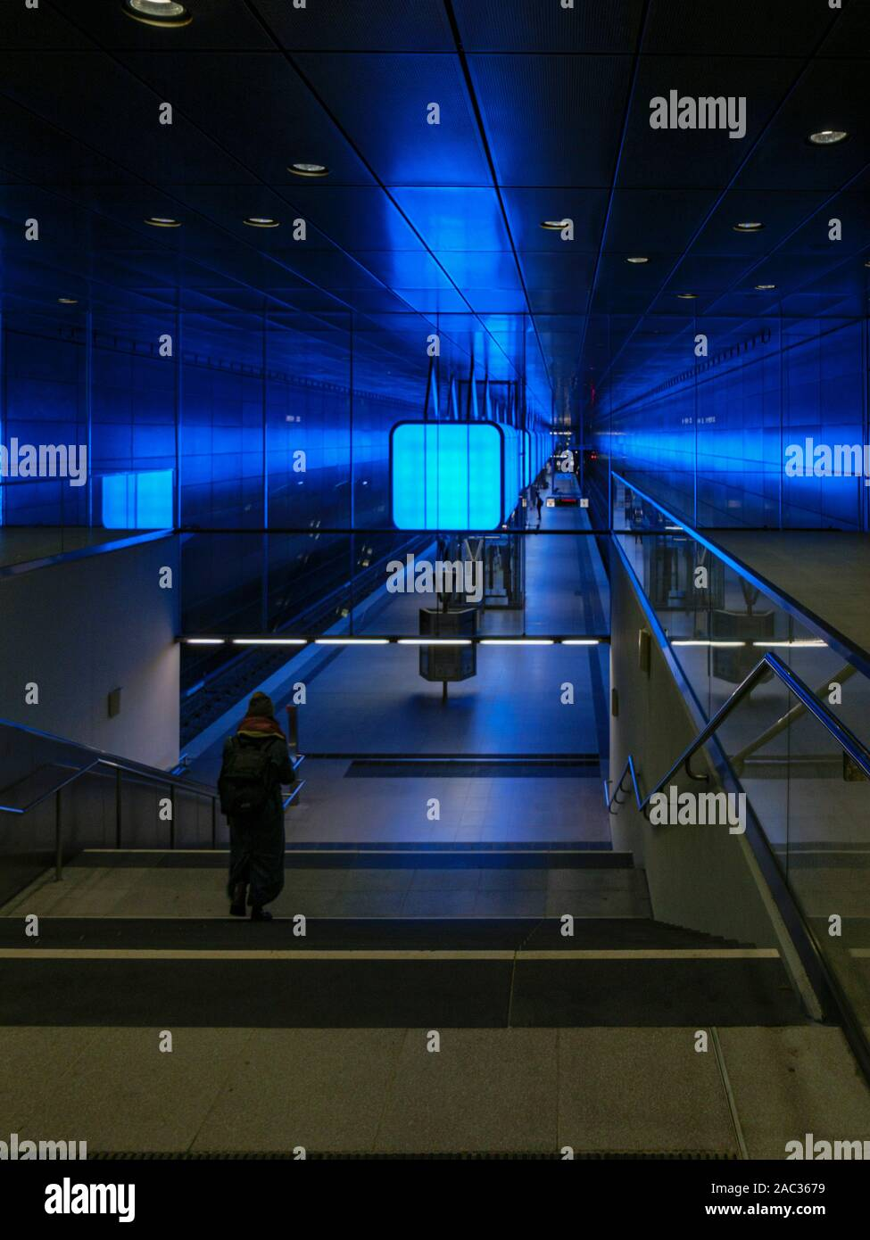 Illuminated Subway station HafenCity Universität, Hamburg, Germany, Europe Stock Photo