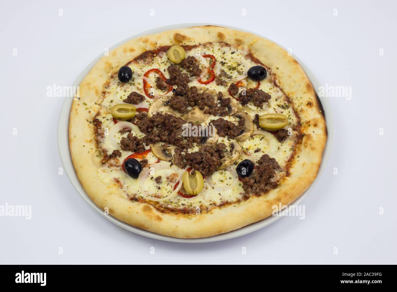 Pizza With Olives Fast Food Restaurant Decoration Pizza On A White Background Stock Photo Alamy
