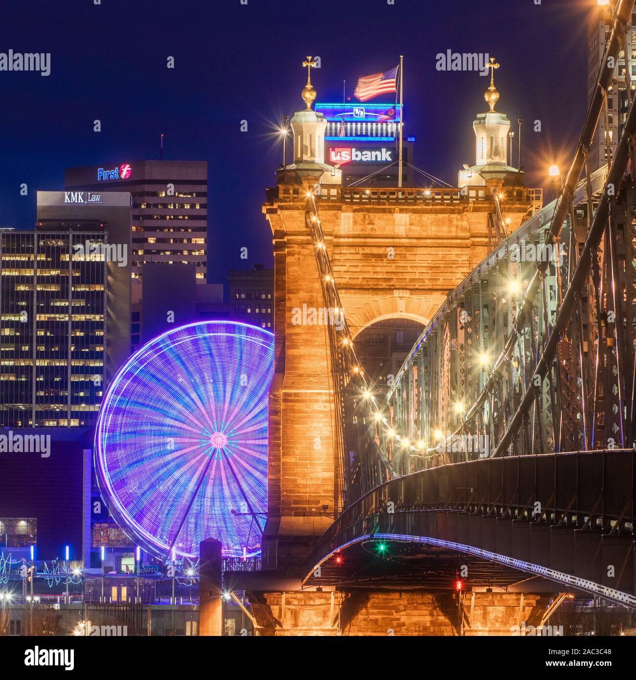 John Roebling Bridge located in Cincinnati, Ohio. This bridge spans the Ohio River. Also know as the suspension bridge. Stock Photo