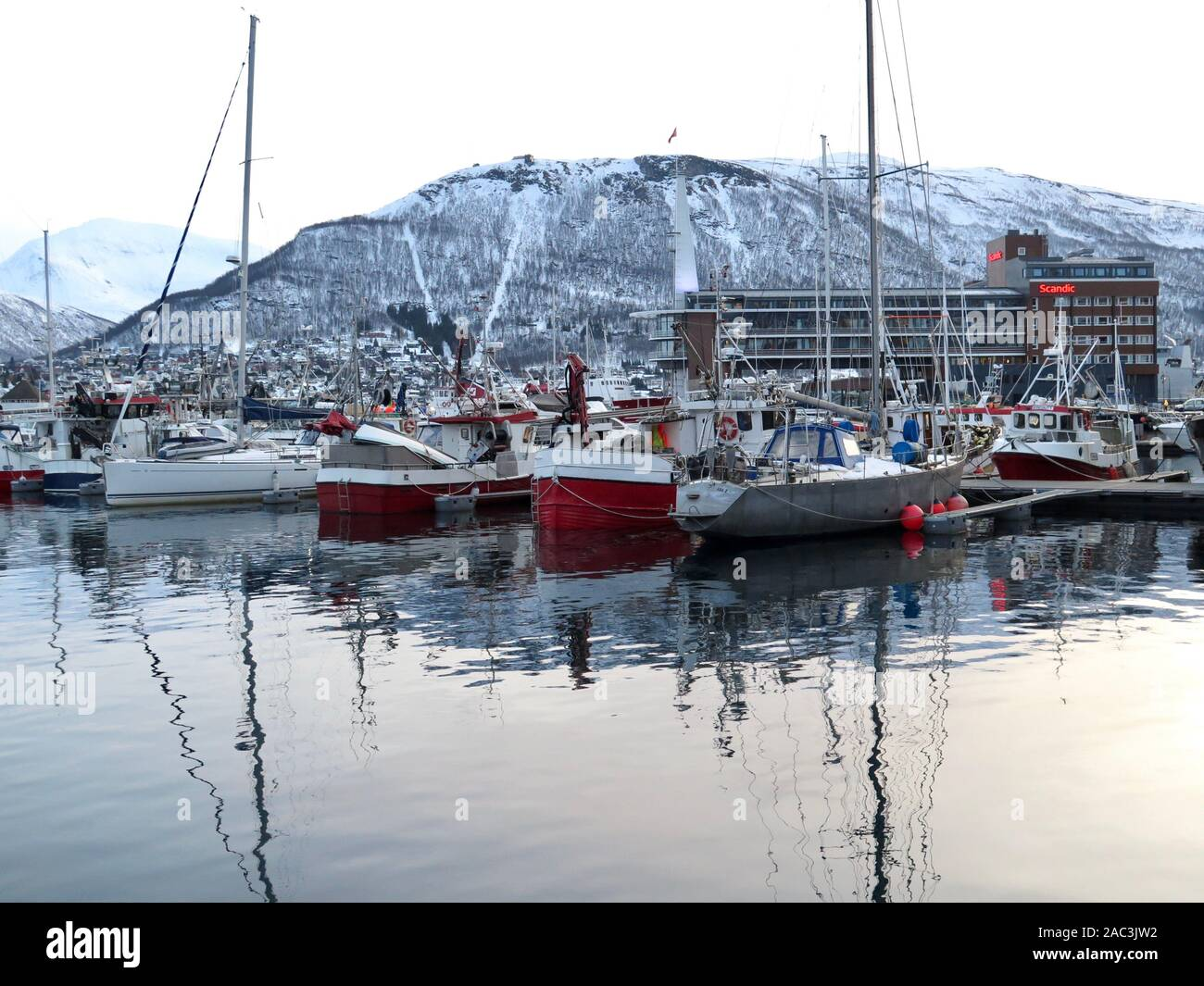 Fishing wharfs, Tromso, Norway Stock Photo