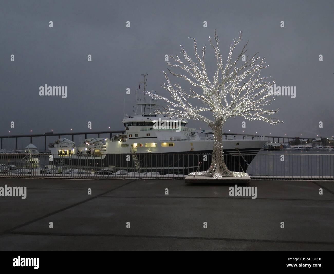 Tromso wharf, Norway Stock Photo