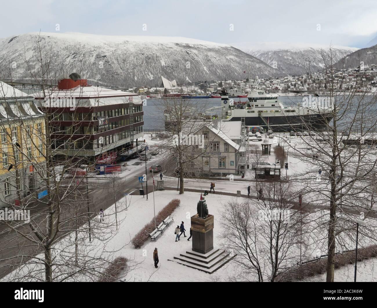 Tromso, Norway: Roald Amundsensplass Stock Photo