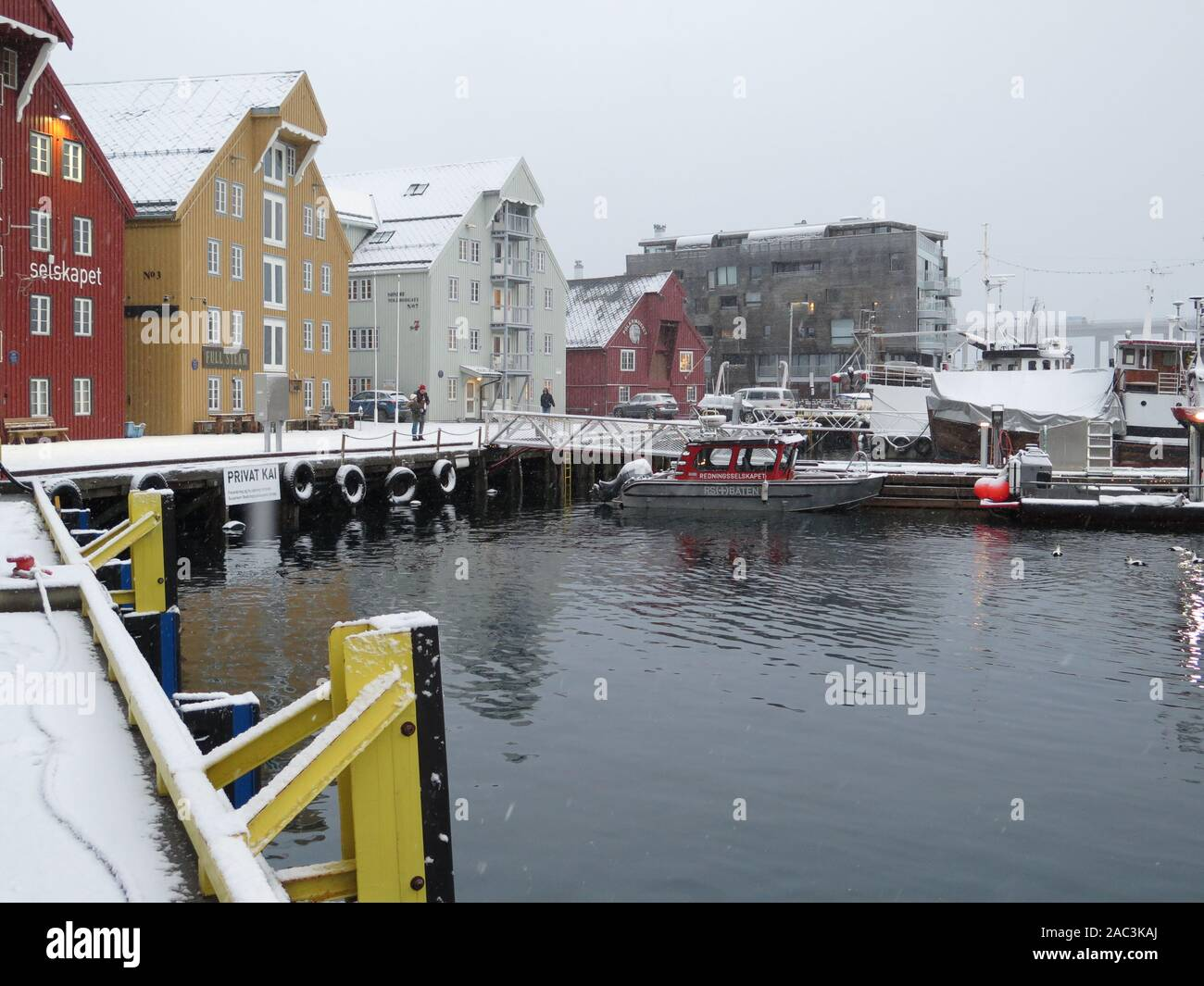 Wooden buildings, Tromso, Norway Stock Photo