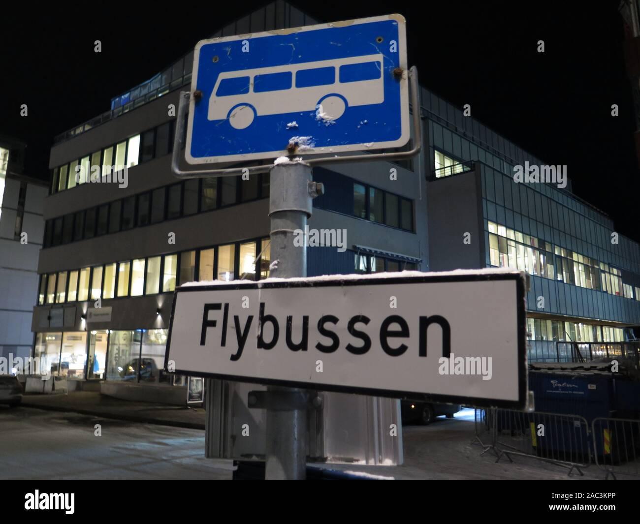 Tromso, Norway airport bus stop Stock Photo