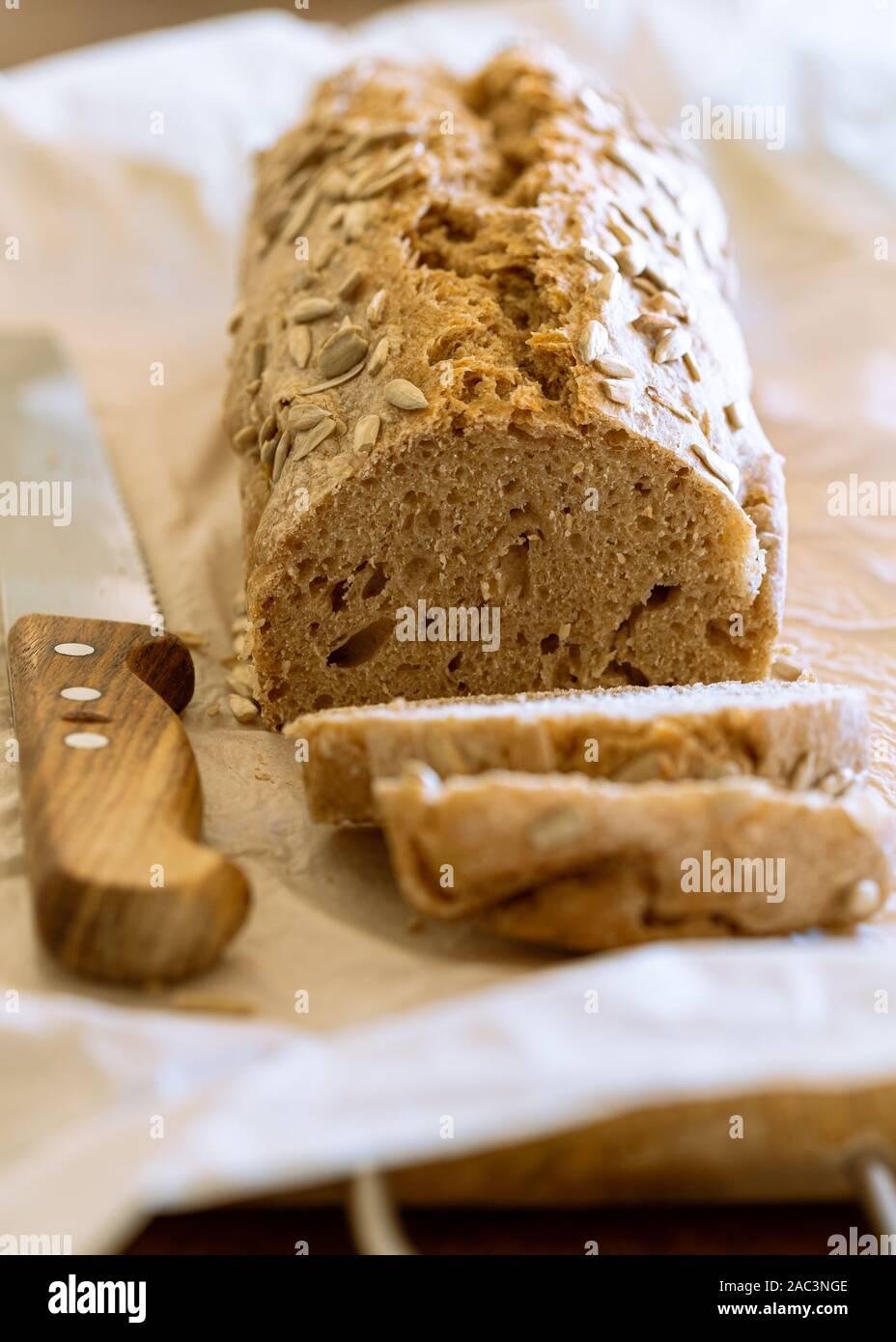 Homemade multigrain loaf of bread Stock Photo