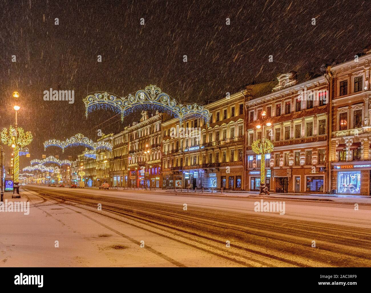 Nevsky prospect, St. Petersburg. Russia 11 December 2018.  Snow-covered and decorated for the New year Nevsky prospect in the early December morning. Stock Photo