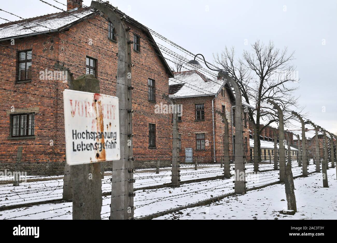 A view on the former Nazi-German concentration and extermination camp Auschwitz. In two months, the 75th anniversary of the liberation of Auschwitz. The biggest German Nazi concentration and extermination camp KL Auschwitz-Birkenau was liberated by the Red Army on 27 January 1945. Stock Photo