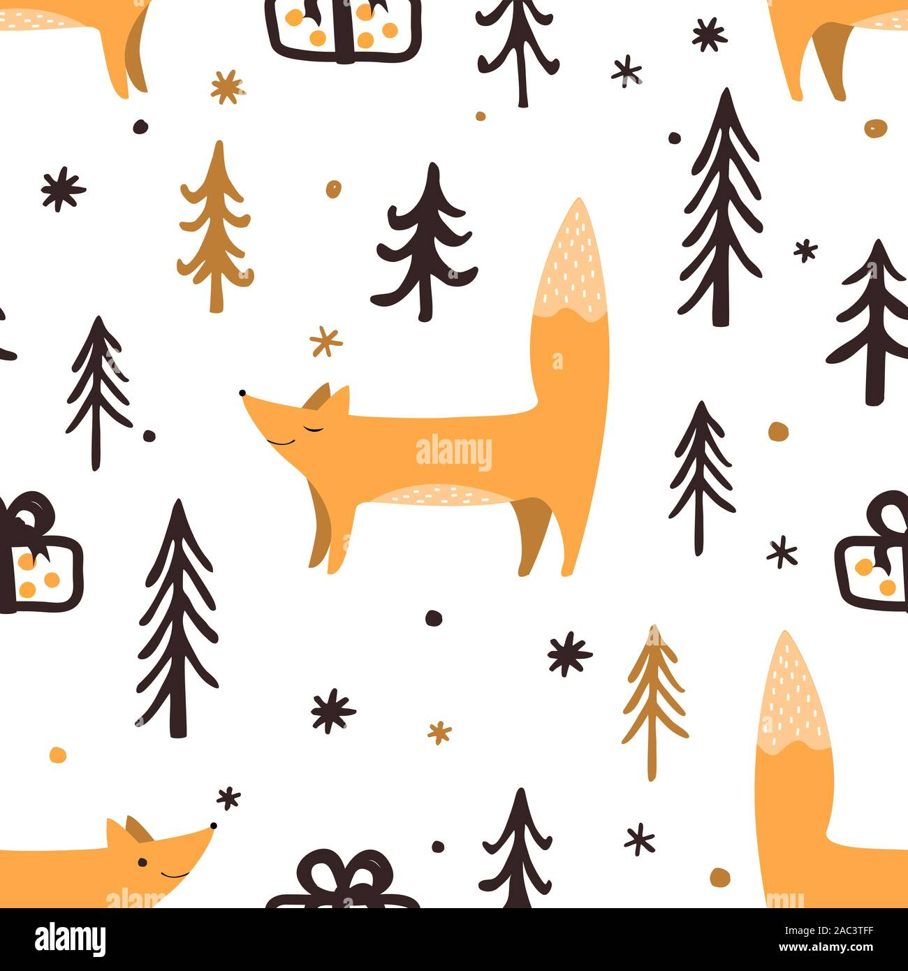 Seamless Christmas pattern with forest trees, present box, and happy foxes. Happy New Year background. Xmas Vector design for winter holidays. Stock Vector