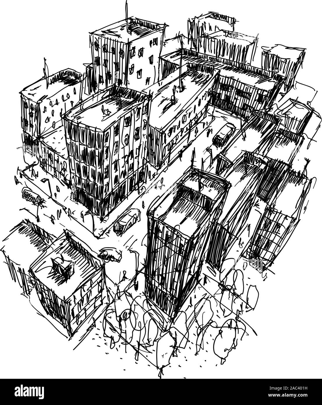 hand drawn architectural sketch of a modern city with high buildings and people in the streets Stock Vector