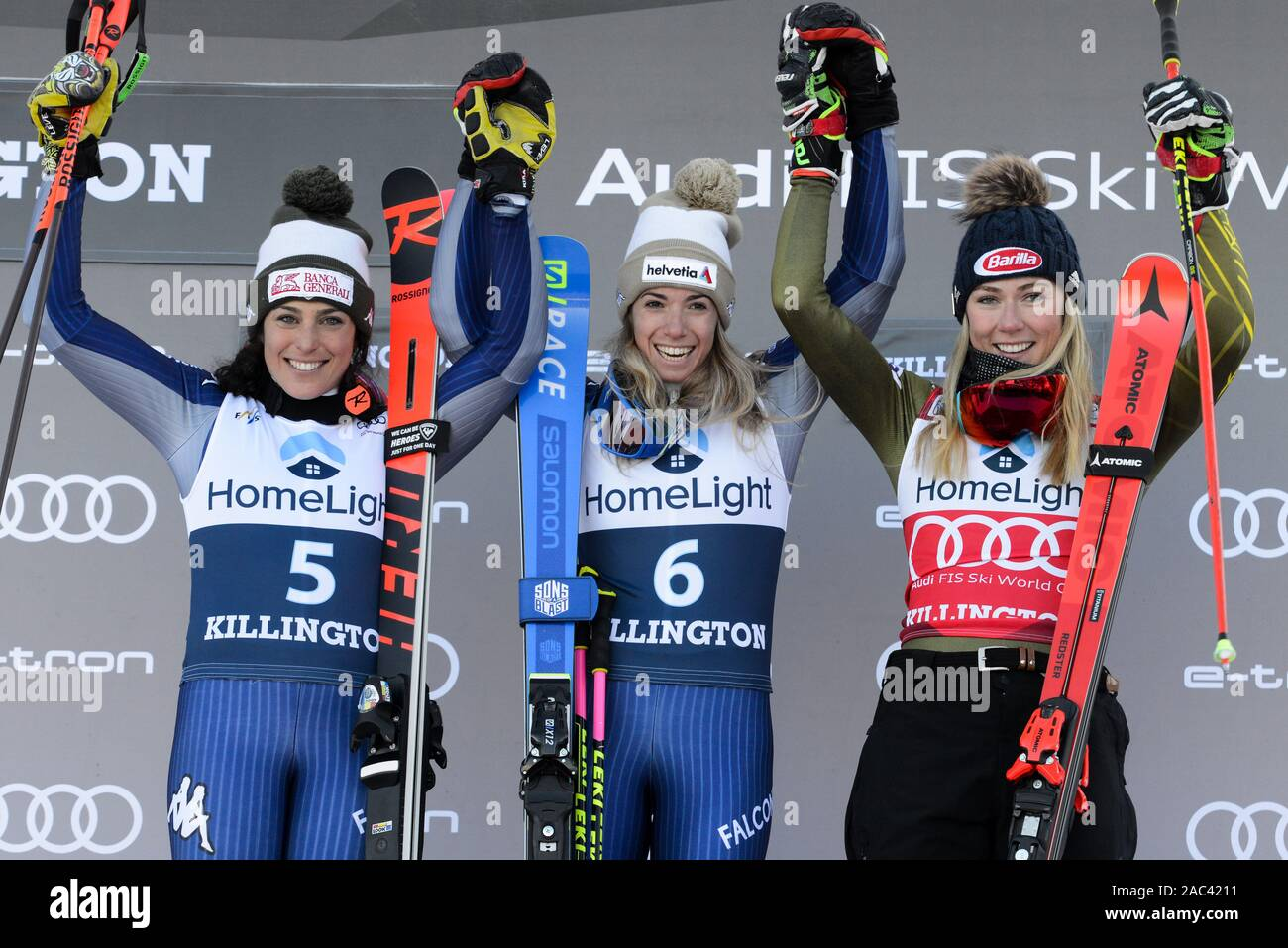 Killington Vermont Usa 30th Nov 2019 Federica Brignone Of Italy Left 2nd Place Marta Bassino Of