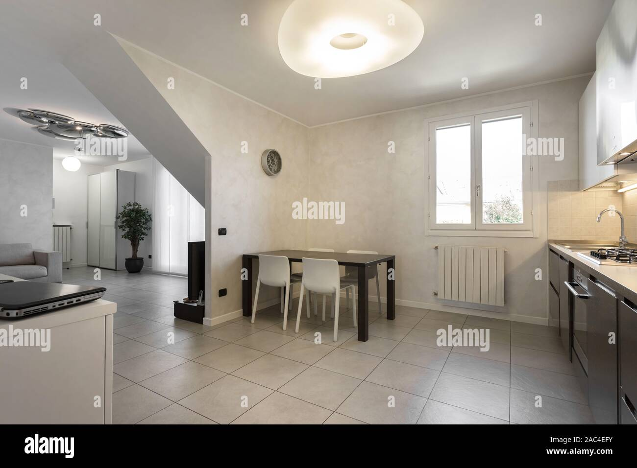 Spacious Apartment Living Room And Kitchen In Modern House Modern Stylish Interior Design Stock Photo Alamy