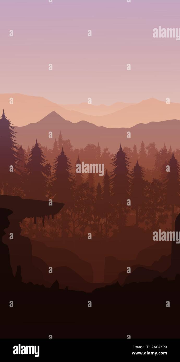 Natural Pine Forest Mountains Horizon Landscape Wallpaper Sunrise