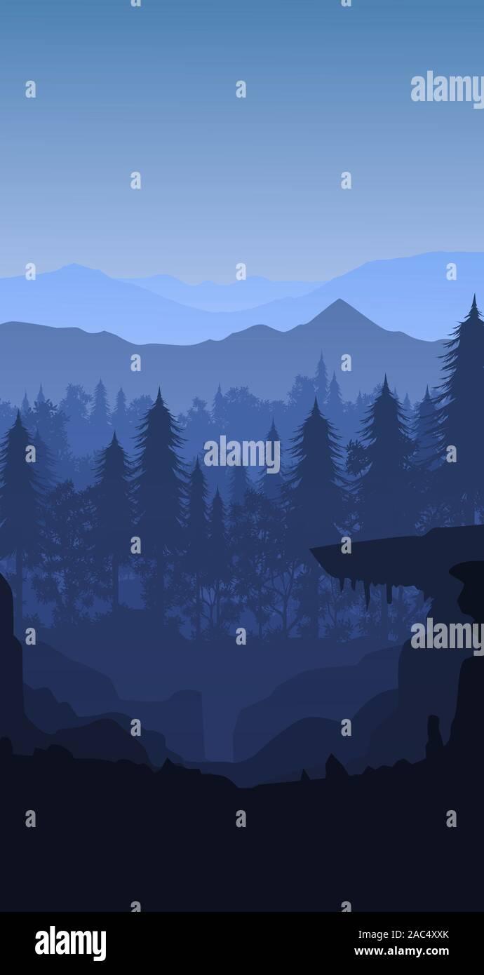 Natural Pine Forest Mountains Horizon Landscape Wallpaper Sunrise