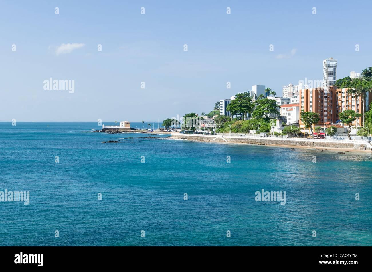 Beautiful view of the Santa Maria Fort of Salvador Bahia Stock Photo