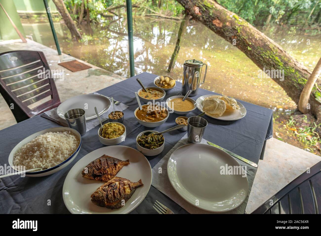 South Indian Food Being Served on Table in Alleppey Kerala India Stock Photo