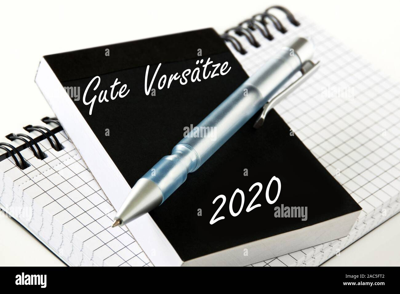 Planning 2020 and German: New years resolutions Stock Photo