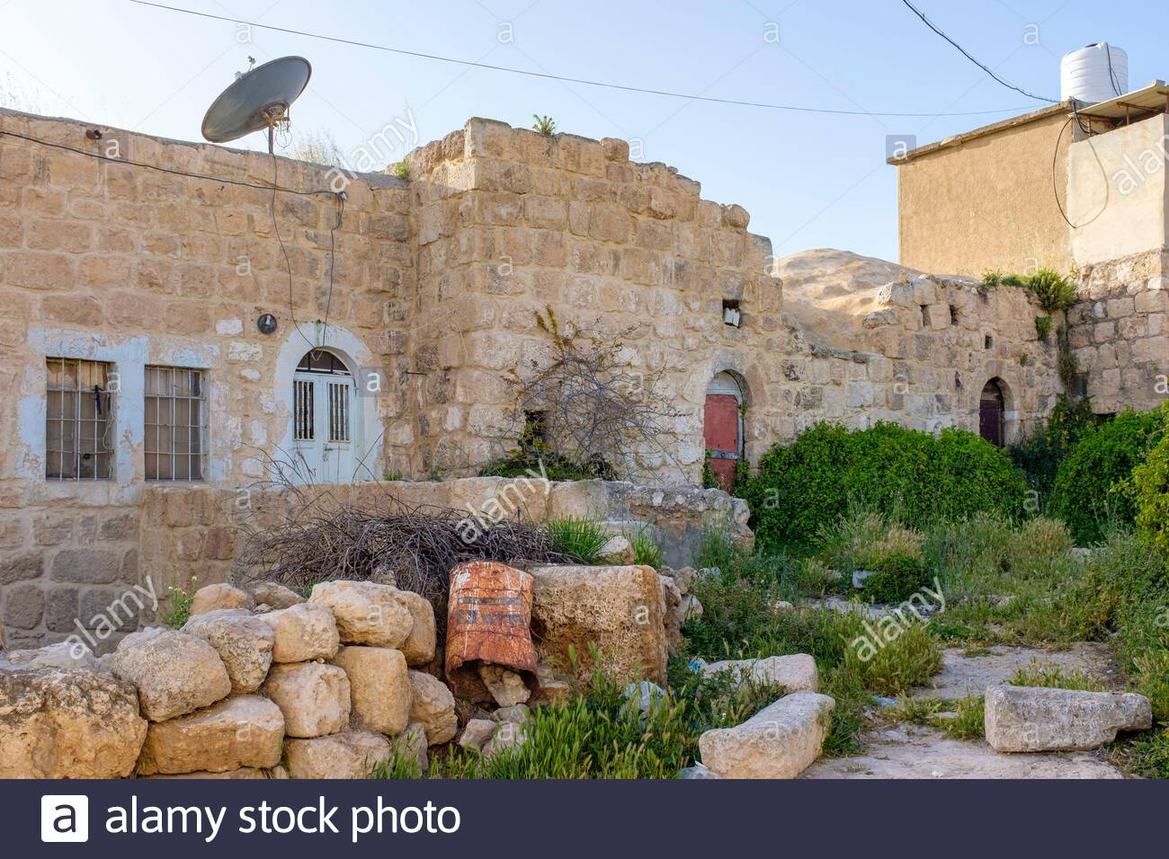 Historic buildings in ad-Dhahiriya, founded in thirteenth century by the Mamluk ruler Al-Malik al-Dhahir Baibars, Hebron Governorate, West Bank, Pales Stock Photo