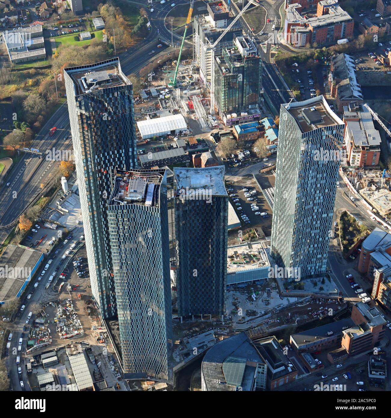 aerial view of Manchester city centre with the Deansgate Square, or Owen Street skyscrapers development, prominent Stock Photo