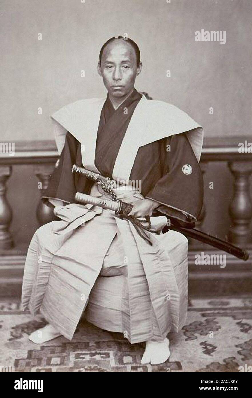 Samurai On Vintage Photograph From 19th Centuary Stock Photo Alamy
