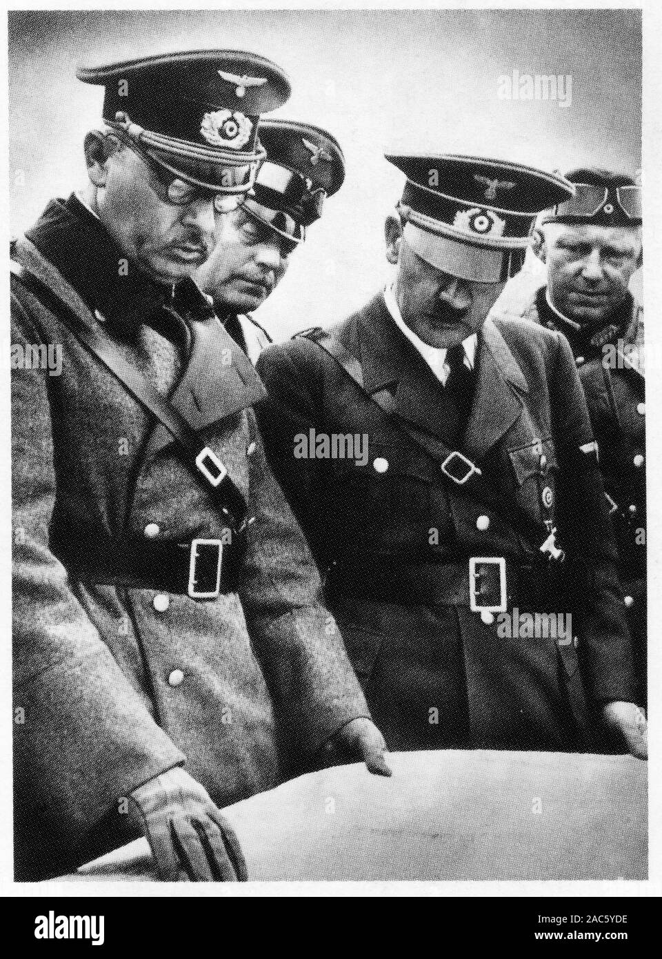 Adolf Hitler among his officers Stock Photo