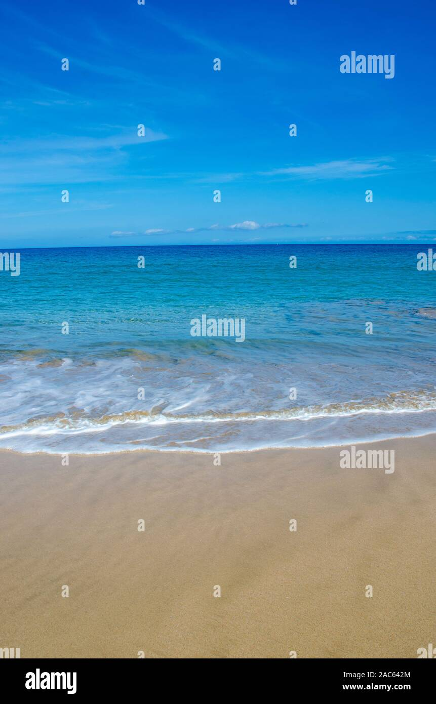 Hapuna Beach, along the Big Island of Hawai'i's Kohala Coast. This white sand beach has been rated one of the best beaches in the world time and time Stock Photo