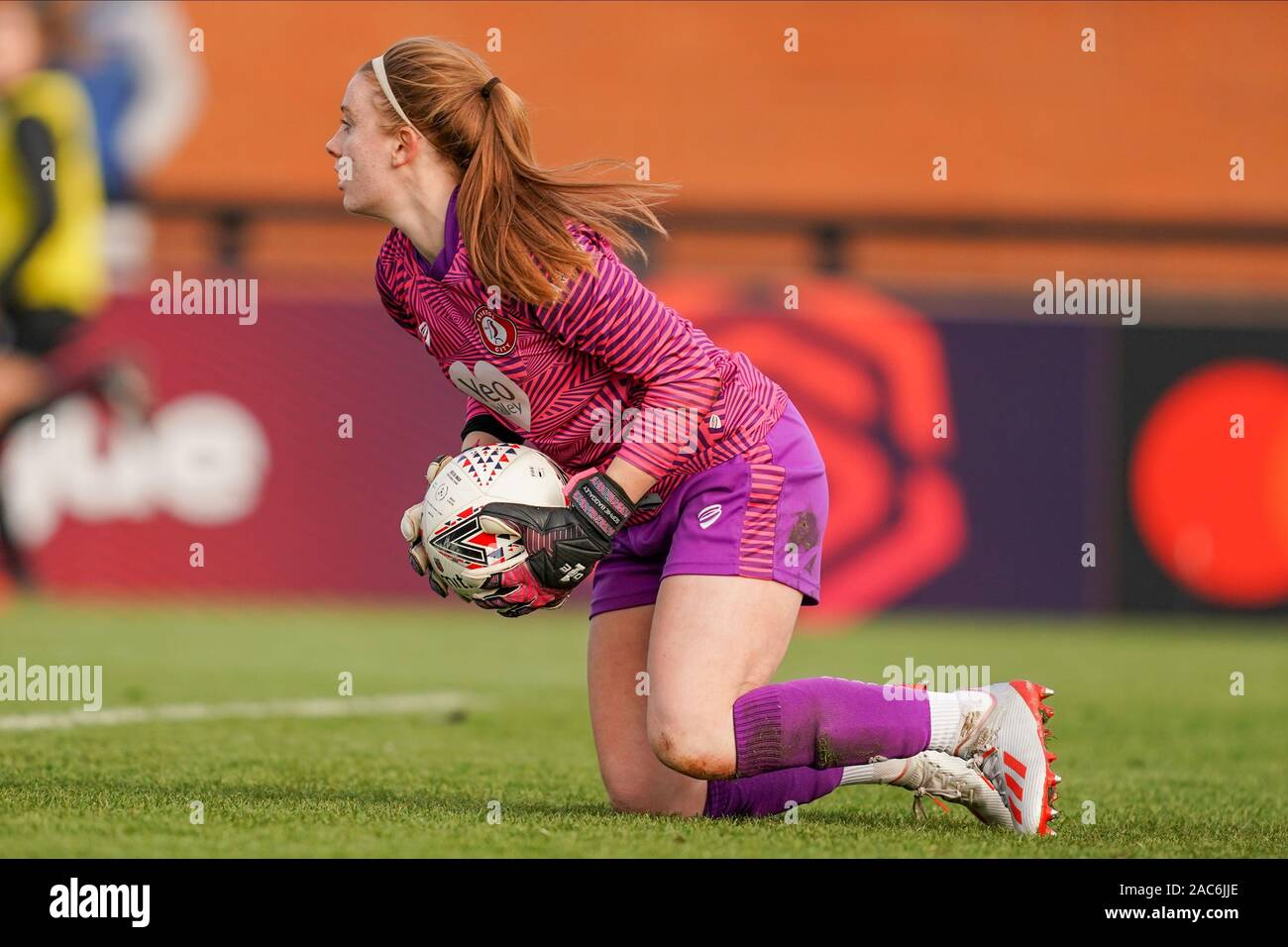Borehamwood, UK. 1st Dec 2019. Goalkeeper Sophie Baggaley of ...