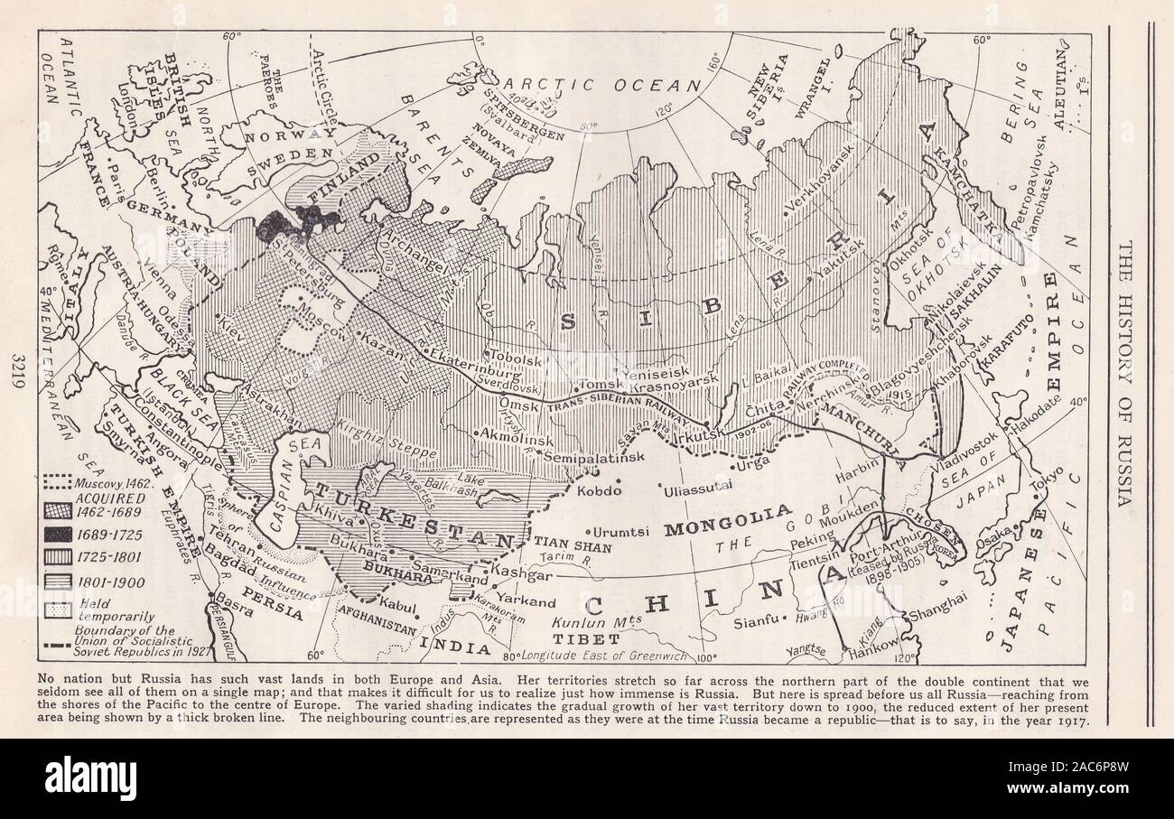 Picture of: 1930s The History Of Russia Map Showing Vast Lands In Europe And Asia Stock Photo Alamy