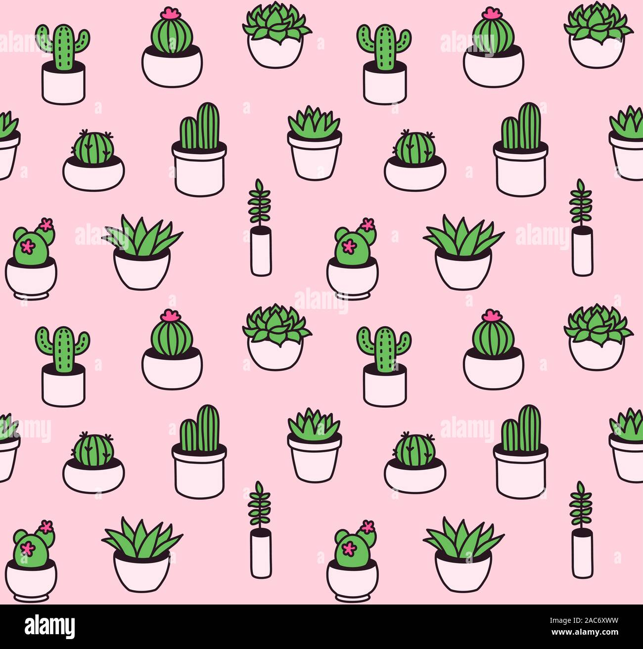 Seamless Pattern Of Hand Drawn Cacti And Succulents In Cute Little Pots Houseplant Doodles In Simple Cartoon Vector Style Stock Vector Image Art Alamy