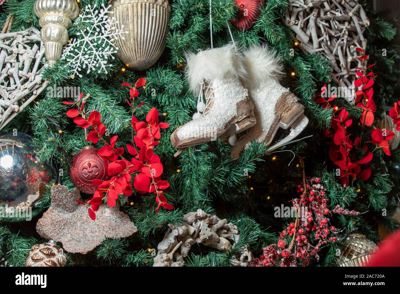 Vintage Christmas Tree Decorations On A Christmas Fur Tree Stock Photo Alamy