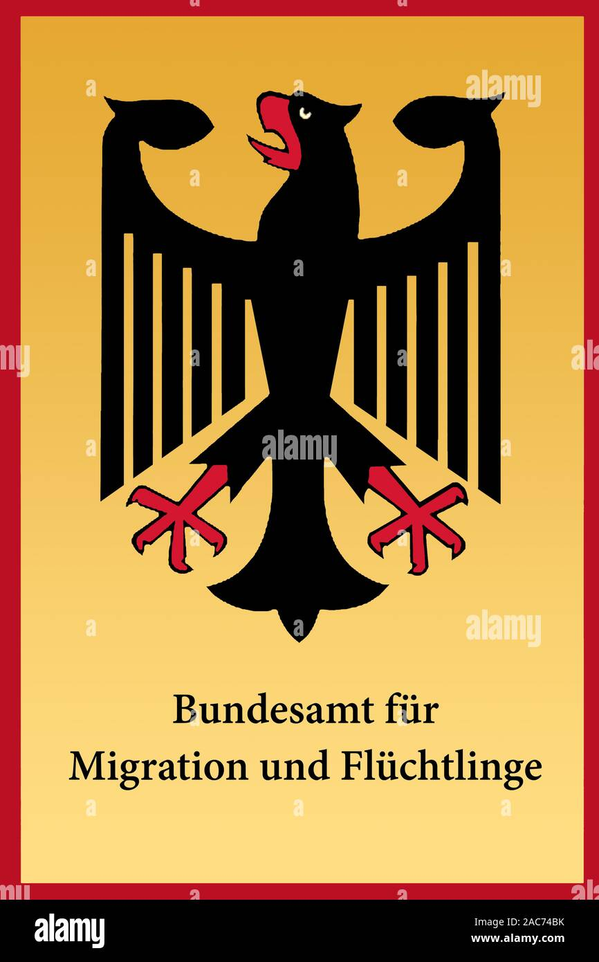 Schild Bundesamt für Migration und Flüchtlinge Stock Photo