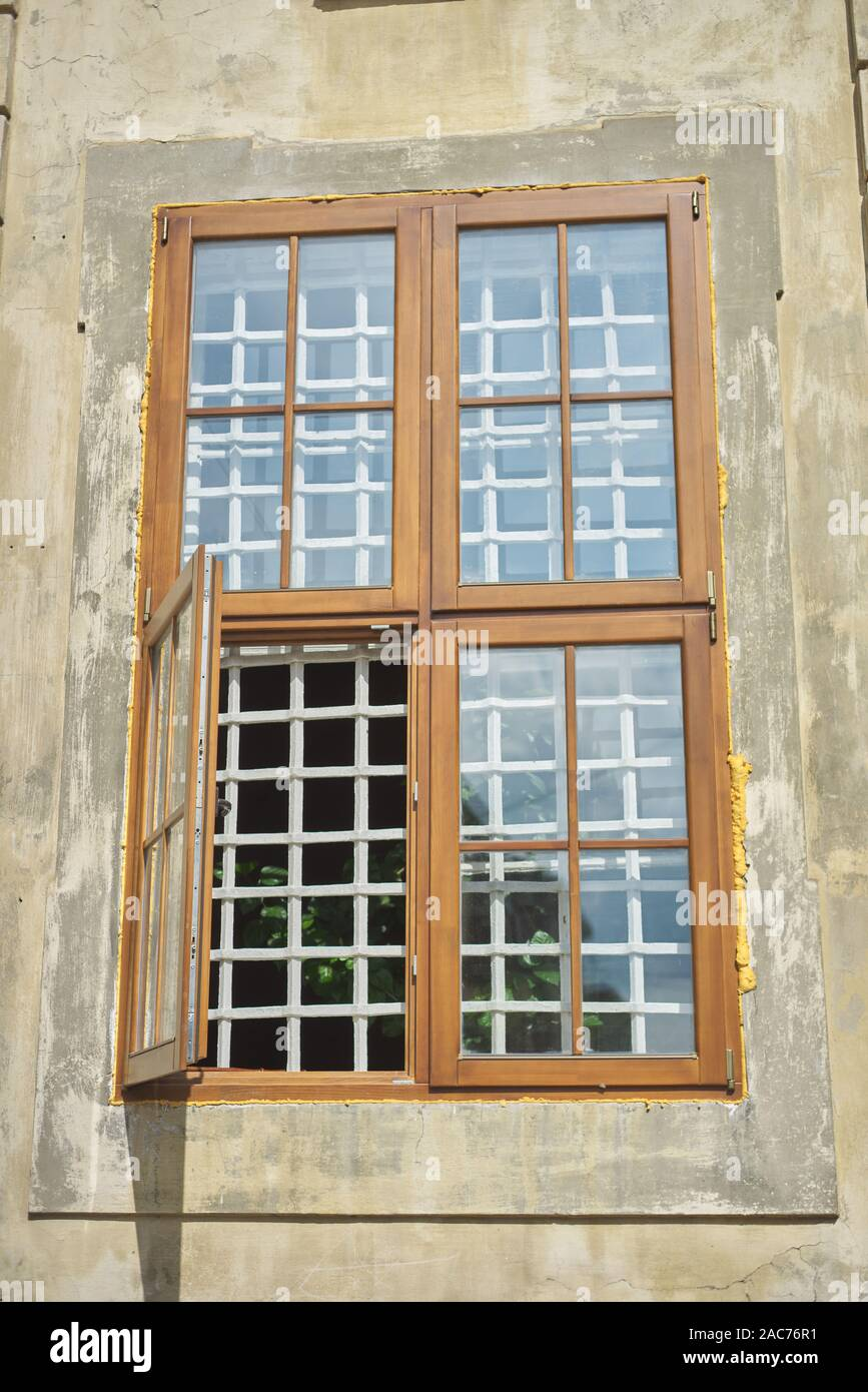 Wooden Modern Window Frames In An Old House Open Window Vintage Design And Modern Technology Stock Photo Alamy