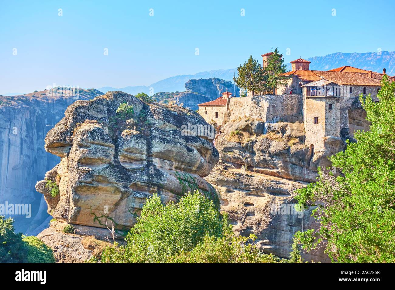 Scenic view of The Holy Monastery of Varlaam in Meteora, Greece -  Greek landscape Stock Photo