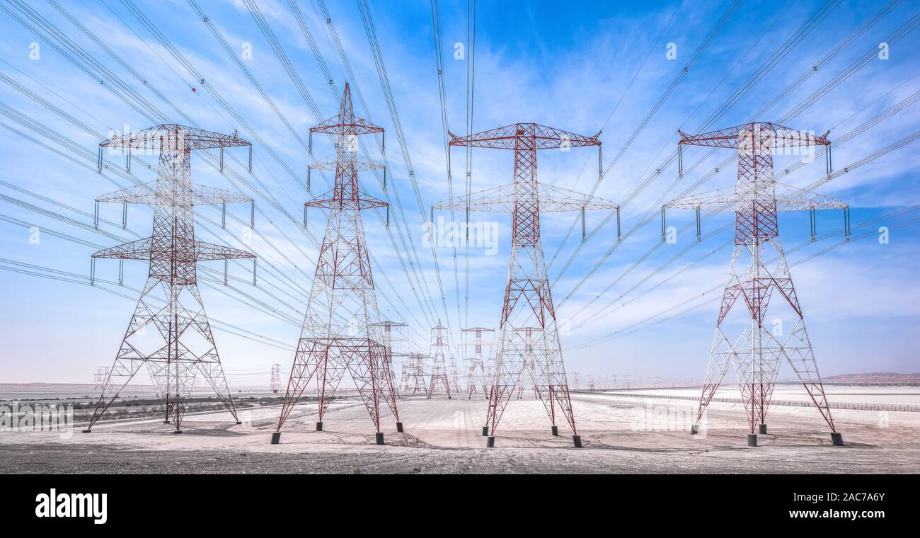 Electric Industry Desert Power Line Towers Stock Photo Alamy