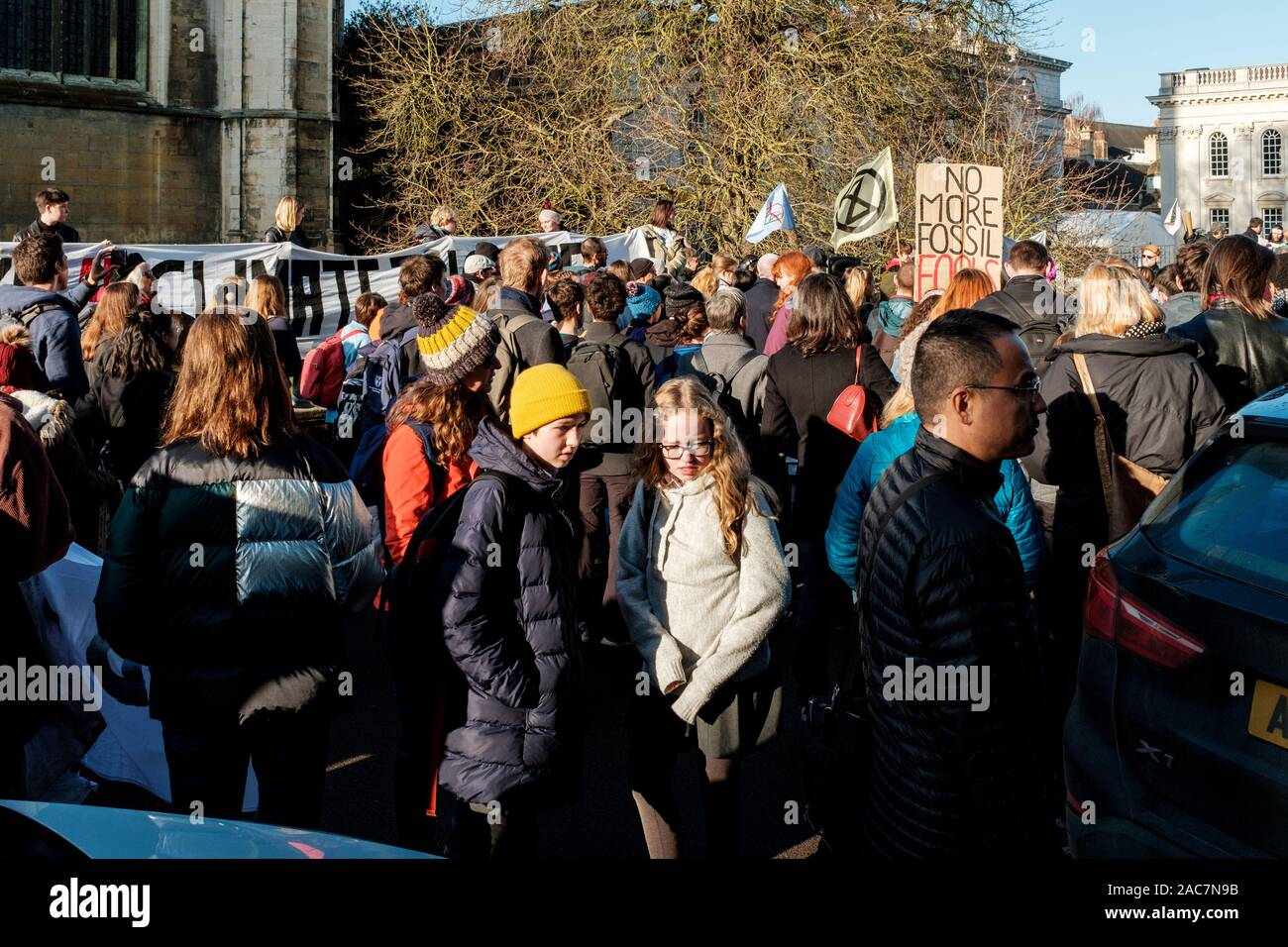 "Cambridge, UK. 29th November, 2019. YouthStrike4Climate and the Cambridge Schools Eco Council attended the global climate action day, with the theme of the strike ""Opposing Overconsumerism"" to mark Black Friday. CamNews / Alamy Live News Stock Photo"