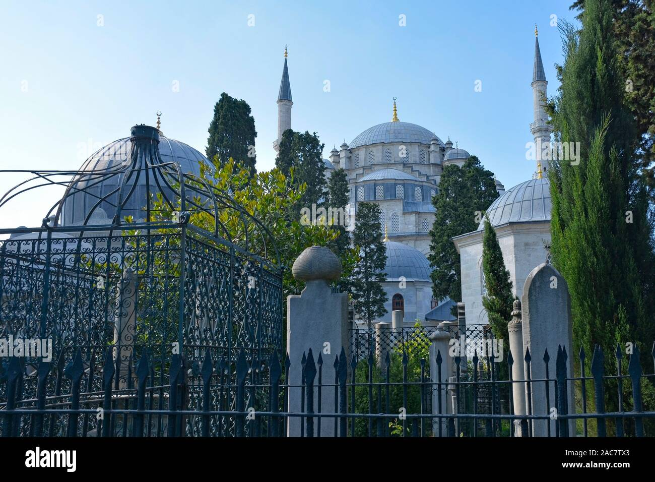 Historic gravestones in the cemetery of Fatih mosque in Istanbul, Turkey Stock Photo