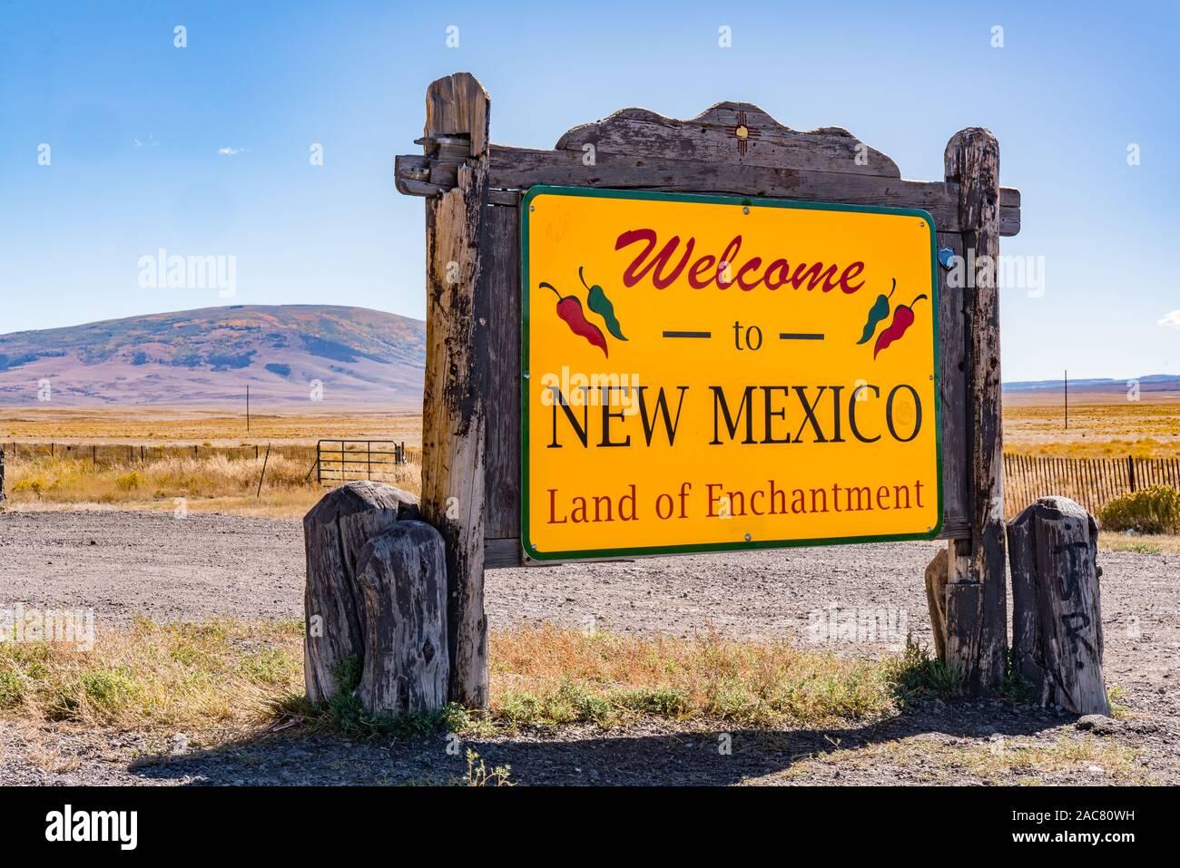 Antonito, CO - October 3, 2019: Welcome to New Mexico Sign near the Colorado - New Mexico Border Stock Photo