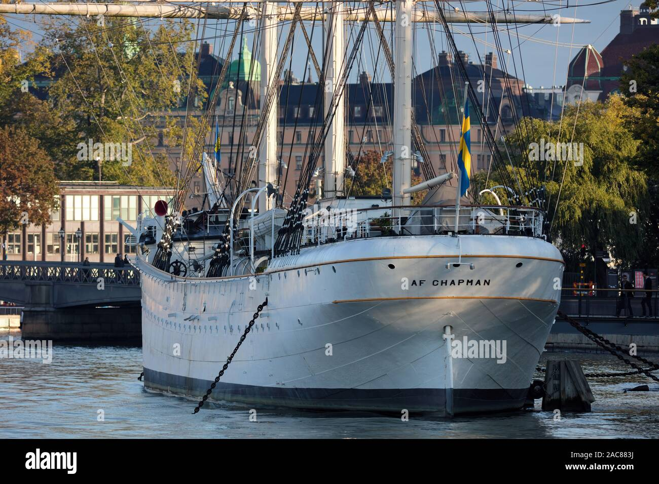 Old sailboat Af Chapman converted into a hostel next to Skeppsholmen, Stockholm, Sweden Stock Photo